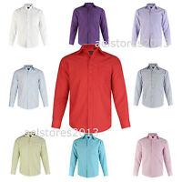 Boys Shirt Plain Kids Age 1 - 15 years New Formal Party Wedding Long Sleeve
