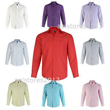 Boys Shirt Plain Kids Age 1 - 15 years New Formal Party Wedding Long Sleeve
