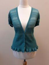 MONSOON,'VICKI', UK 12,Duck Egg Blue,Short Sleeve, Fine Knit Cardigan, New+Tags!