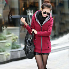 Womens Winter Warm Thicken Fleece Hooded Slim Coat Trench Jacket Parka Outwear