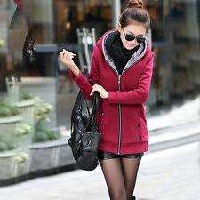 Women Thicken Fleece Hooded Winter Warm Slim Coat Ladies Trench Jacket Outwear
