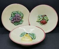 Vintage (Set of 3) French Majolica F.F.A.S. Dishes. Cherry Signed, Pear, Grape