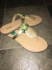 NWT Nicole Pineapple Rhinestone Bling Flip Flops Women's Sandals Size 7.0 CUTE!!