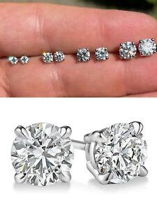 Mens Ladies Real Moissanite Stud Earrings Passes Diamond Tester All Size 0.2-2ct