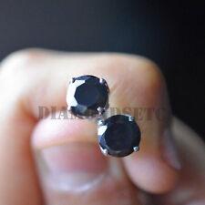 1.5CT Black Diamond 14K White Gold FN Stud Earrings Screw Back Wedding Day Gift
