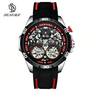 New Luxury Top Brand Men Automatic Waterproof Sport Double Tourbillon Wristwatch