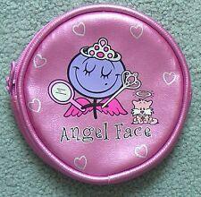 Angel Face pink girls round plastic purse. 10cm diameter.