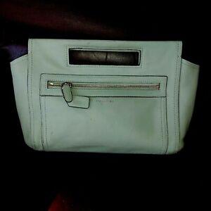 Coach Legacy Basket Clutch Mint Green Leather Zipper Top Handle 48012