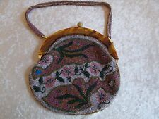 Antique Micro Glass Beaded Purse w/Faux Tortoise Shell/Bakelite Frame
