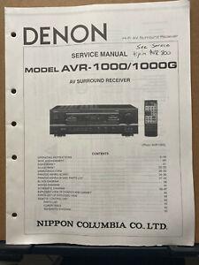 Original Service Manual for the Denon AVR-1000 G AV Receiver ~ Owner