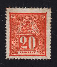 SWEDEN #16 Mint NO GUM 20o Vermillion 1866 Perf 14 SCV $300.00