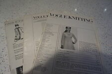 Knitting Patterns 2 x Vogue Knitting + 1 PATONS & Baldwins bon état