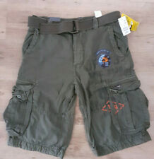 H&M cargo/combat army shorts. Belted Patches, Loose Fit. khaki green. Sz 30 New