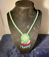 Vintage Native American Lakota Sioux Indian Beaded Leather Medallion Necklace