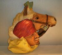"Vtg Bossons 1962 Lord of the Desert Wall Art  Chalkware Head w/ Horse 10""L x 8""T"