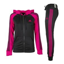 Womens Adidas Full Tracksuit Re-Focus TS Pink/Black Training Gym Run XS S M L