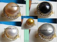 18k Gold Plated 5 COLOR AAA+11-12MM SOUTH SEA AKOYA PEARL RING SIZE 8