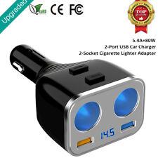 2 USB Steckdose Adapter und 2 Fach Kfz Auto Zigarettenanzünder Verteiler Buchse