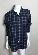 Band Of Outsiders Navy Plaid Cotton Button Up Size 3/M Men's