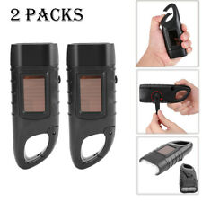 2x Solar Powered Hand Crank Rechargeable LED Camping Emergency Flashlight Torch