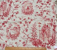 "Antique 19thC Pink & White Chinoiserie Toile Cotton Fabric~L-17"" X W-19"""