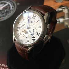 Mens Rotary Watch Steel Brown Leather Multi Dial Moon Phase Genuine GS02838/01