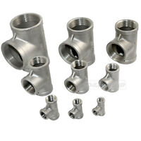"""1/8""""-2"""" Tee 3 way Female Stainless Steel 304 Threaded Pipe Fitting NPT Hot"""