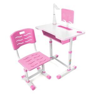 Kinderschreibtisch Schülerschreibtisch Verstellbar mit Schublade + Stuhl + Lampe