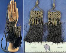 Antique Art Deco Gold Bullion Rope Black Silk Fringe Tassel Trim Tie Backs Pair