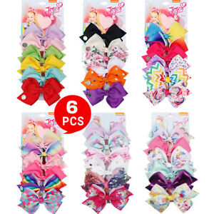 6pcs Signature for Jojo Siwa Bows Girls Fashion Hair Accessories Party Gift