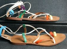 Ladies H&M Rainbow faux Leather Sandals Gladiator Size 6