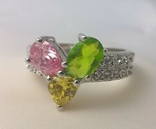 G-Filled Ladies 18ct gold multi coloured ring citrine peridot pink sapphire cz