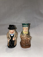 2pc Royal Doulton Winston Churchill And Mr Micawber Small Toby Jug Character Cup