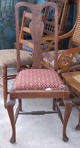 Queen Anne Sidechair / Parlor Chair-burgundy print  (SC32)