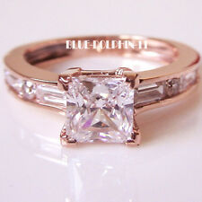 Real Genuine Solid 9K Rose Gold Engagement Wedding Ring Ladies Simulated Diamond