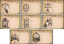 Vintage Paris Eifel Tower post cards scrapbooking crafts set of 8