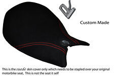 BLACK SUEDE RED STITCH CUSTOM FITS DUCATI PANIGALE 1199 FRONT RIDER SEAT COVER