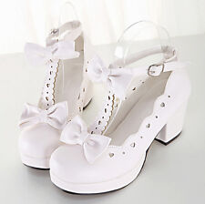 New Ladies kawaii princess lolita dress shoes cosplay pumps bowknot chunky heel