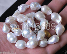 """12-16mm Genuine Natural White reborn keshi Baroque Pearl Jewelry Necklace 18"""""""