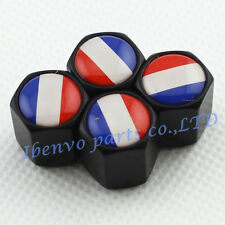 Black Styling Metal Car Wheel Tyre Tire Stem Air Valve Cap For French Flag
