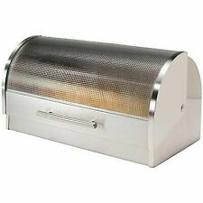 Oggi Bread Boxes Stainless Steel Roll Top With Tempered Glass Lid