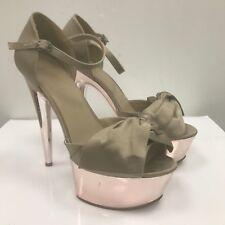 CARVELA Grey Brown Satin Pink Mirrored Platform Heels Shoes Party Size UK 5 3457