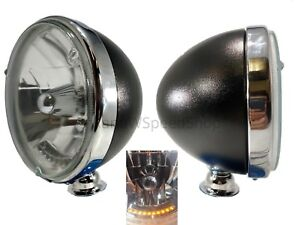 "Pair Black Dietz 7"" Crystal Headlights Lamps w/ 10 LED Amber Turn Signal Lights"
