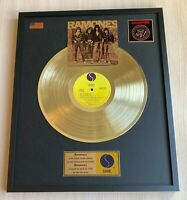 RAMONES RAMONES 1976 GOLD METALIZED VINYL RECORD IN FRAME UNDER GLASS