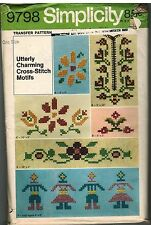 9798 Vintage Simplicity Embroidery Cross Stitch Cutwork Transfer Pattern Floral