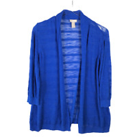 Chicos Open Front Cardigan Sweater Size 3 XL Blue 3/4 Sleeve Knit Lightweight