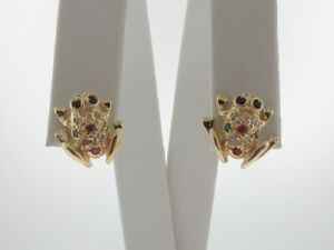 Natural Rubies Sapphires Emeralds Diamonds FROG Solid 14K Yellow Gold Earrings