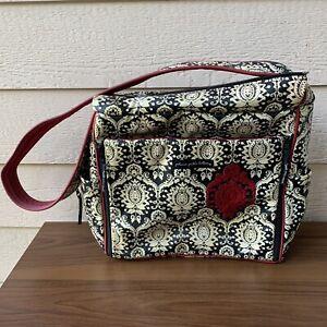 Petunia Pickle Bottom Frolicking Fez Shoulder Bag Diaper Damask Black White Red