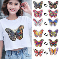 Butterfly Reversible Sequins Sew On Patch Clothes DIY Embroidered  Applique