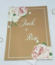 Vintage Style Wedding/Eve Flat Card Invitations Printed Both Sides Pack 10